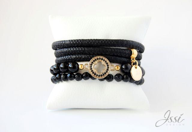 ISSI jewelry  black onyx,  Snake skin leather