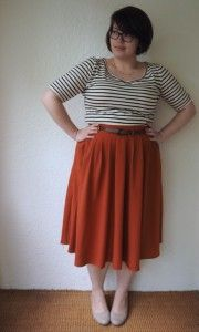 Frocks and Frou Frou striped shirt midi skirt flats