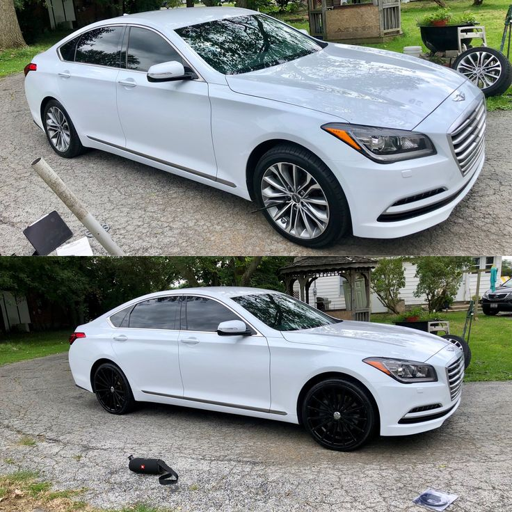 20 inch velocity rims on 2016 Hyundai Genesis before and