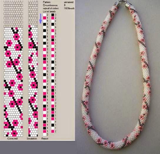 Crochet beading ropes patterns:wit met roze bloem 8 rond