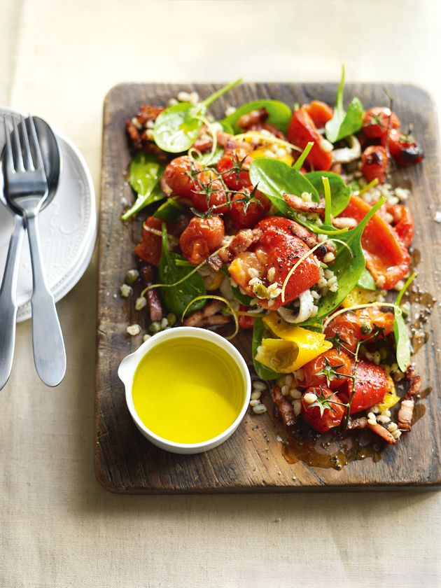 I'm not sure if capsicum is a hot pepper or not, but this looks amazing and healthy to boot!  roasted capsicum, tomato and barley salad