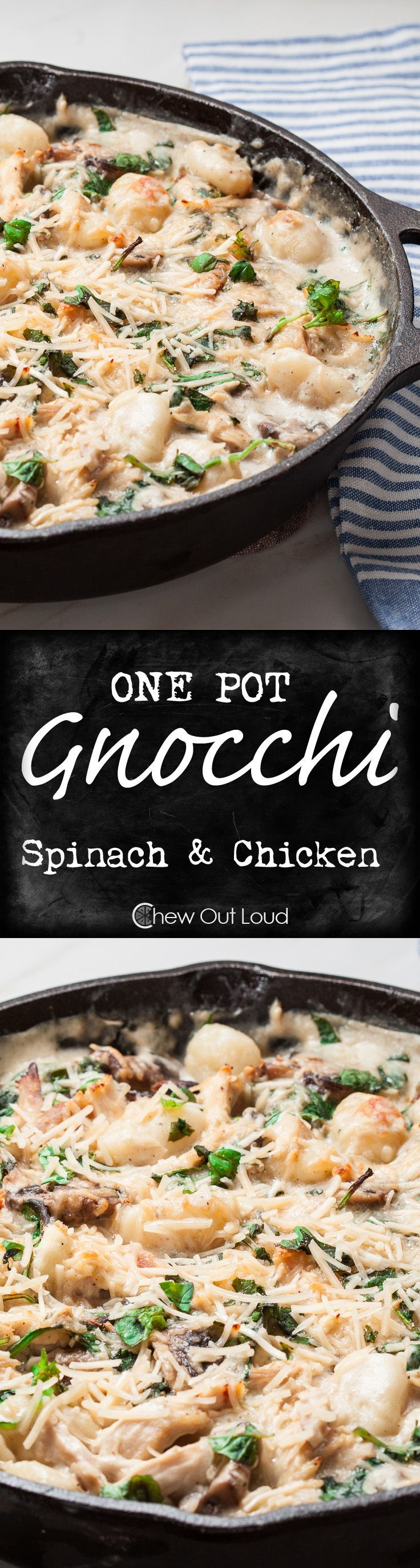 One-Pot Gnocchi with Spinach and Chicken. So easy and outstandingly delish! Flavorful 'n quick weeknight dinner that's tasty enough for guests. #maindish #recipe