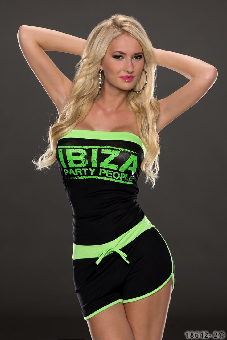 Zwart met groene jumpsuit, hotpants model, strapless