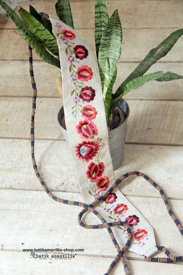 Batik Amarillis made in Indonesia .... Batik Amarillis's obi belt in Hungarian embroidery