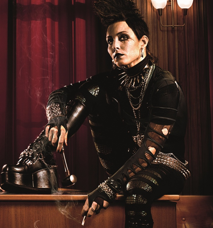 """My favorite goth/punk ensemble worn by the original Lizbeth Salander from the Swedish version of the film """"The Girl With The Dragon Tattoo""""..with Noomi Repace"""