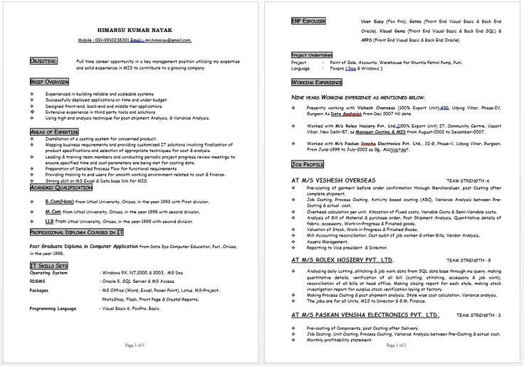 MIS Costing Expert Resume resume sample Pinterest - mis resume