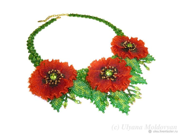 Buy Necklace with poppies beaded on Livemaster online shop