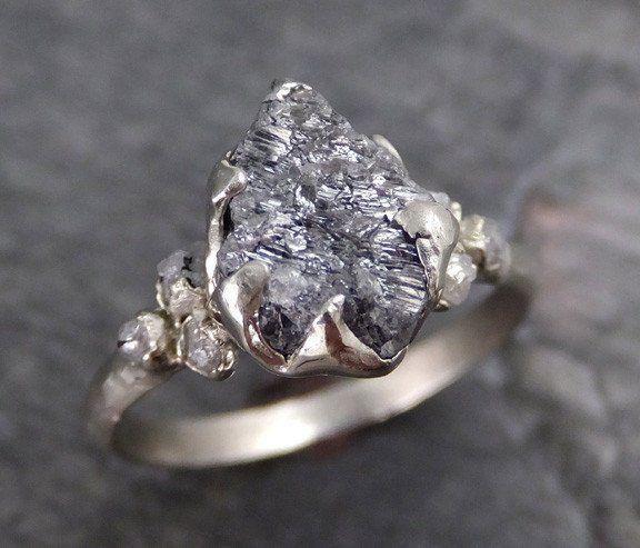 Rough Diamond Engagement Ring Raw 14k White Gold Wedding Ring Wedding Set…