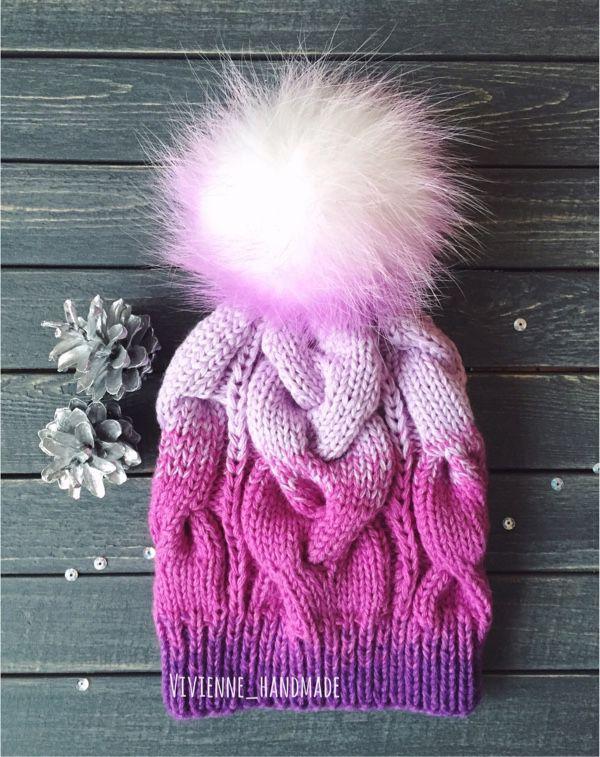 Купить или заказать Вязанная шапка в интернет-магазине на Ярмарке Мастеров. Вязанная объёмная шапочка из пуха норки и козы, очень тёплая, мягкая и совсем не колит! Помпон из натурального финского песца, при желании можно …