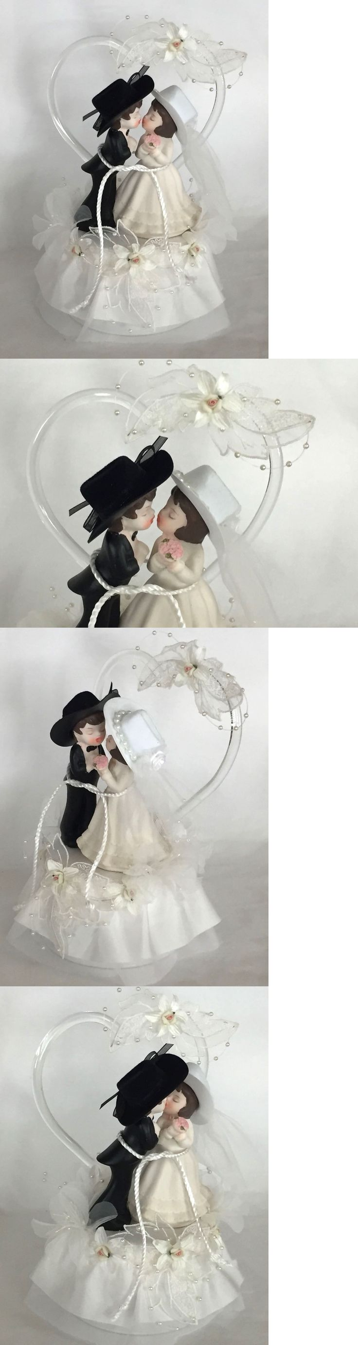 Wedding Cakes Toppers: Western Cowboy Lassoed To His Cowgirl Bride, In Bridal Hat, White Cake Top -> BUY IT NOW ONLY: $48 on eBay!