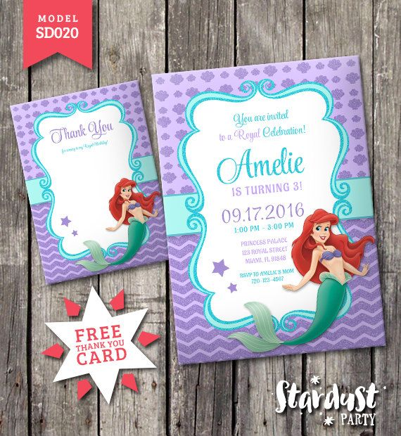 The little mermaid Invitation Printable Kids por StarDustParty