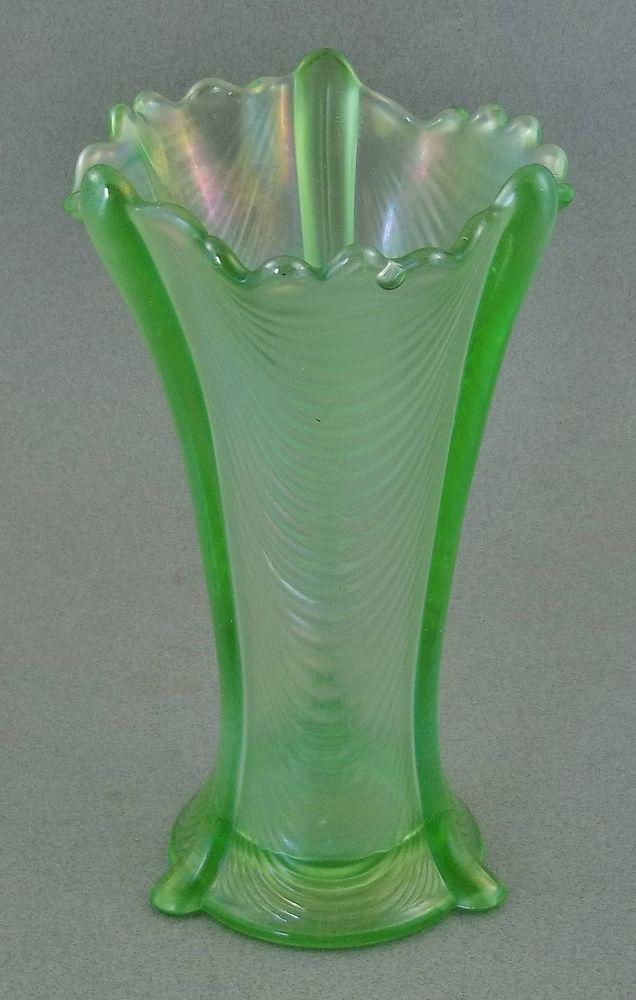 Beautiful Northwood Drapery Ice Green Carnival Glass Vase Mint Beautiful Glass Vase And Vase