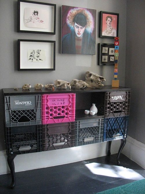 Console made with milk crates.  Might have to try this for my craft room