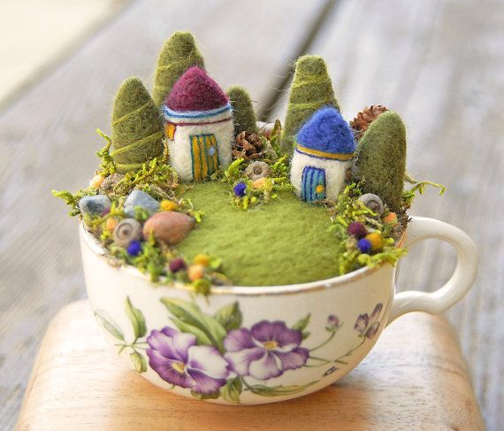 Tiny Houses and Gardens, Fairy Garden in a Cup, Needle Felted on Etsy, Sold: