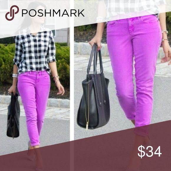 """J. Crew Toothpick Cords Purple Skinny Pants Sz 33 J Crew Women's skinny soft corduroy pants belt loops front and back pockets style 04473 color: neon violet purple Sits lower on hips. Fitted through hip and thigh, with a superskinny, straight, ankle-length leg. Cotton/elasterell with a hint of stretch.  Gently preowned condition with no stains, rips, or holes. Some fading on the back rear and thigh as pictured Missing Size tag. Waist approx 33"""". Please see pictures for approx measurements…"""