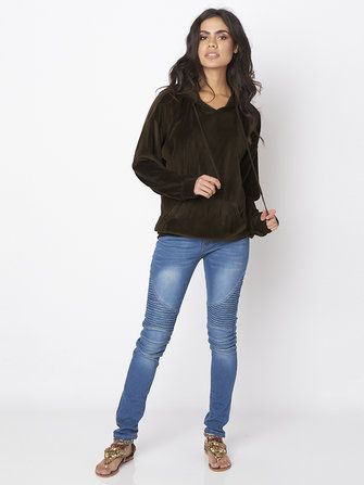 Loose Gold Velvet Pocket Long Sleeve Women Hooded Sweatshirt at Banggood sold out