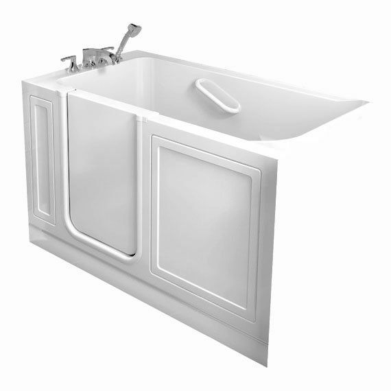American Standard Gelcoat Whirlpool Left Hand Walk In Combo Tub In Linen  With Quick Drain