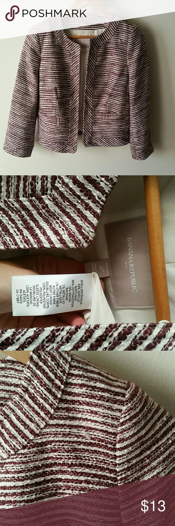 Banana Republic jacket Maroon and white, in excellent condition. I bought this and wore it once before deciding the sleeves looked too short (it is size 4, petite) Minor pull near front left of jacket (shown in last picture) Banana Republic Jackets & Coats Blazers