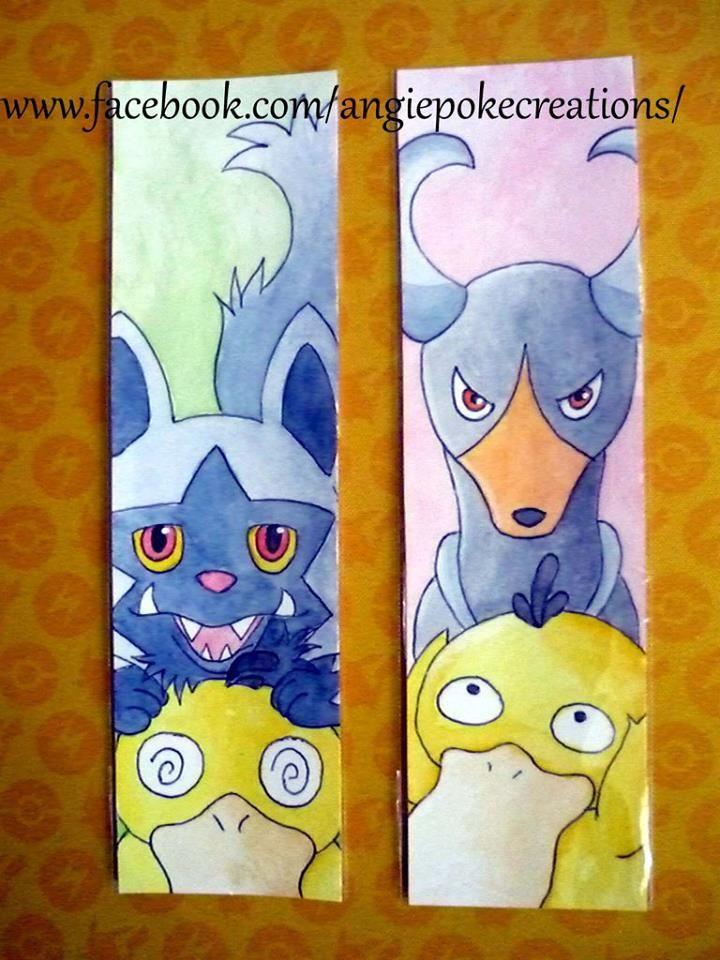 Marque-Pages Pokemon Création Dessin Fan Art : médhyena, démolosse, psykokwak
