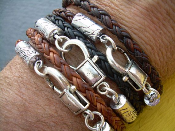 Braided Leather Bracelet,  Mens, Womens,  Unisex ,  Double Wrap, Lobster Clasp, Mens Jewelry, Womens Jewelry, Mens Bracelet, Womens Bracelet...