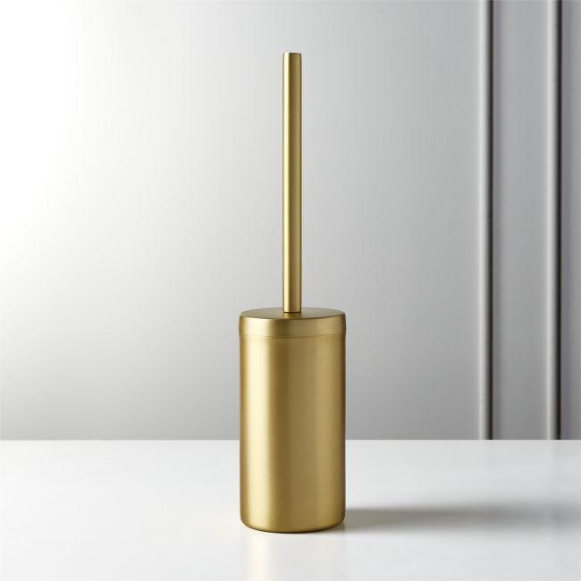 Elton Brushed Brass Toilet Brush Reviews Cb2 Toilet Brush Brass Bathroom Sconce Gold Bathroom Accessories