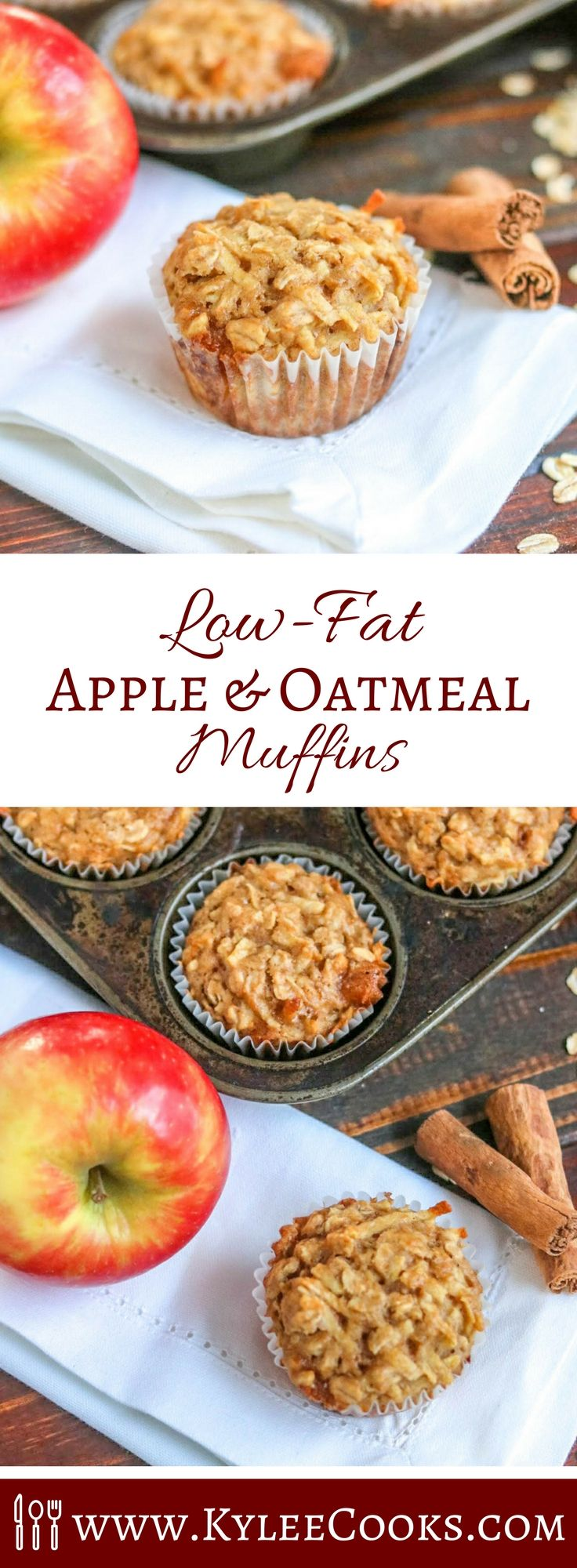 Low fat and hearty – these Apple Oatmeal Muffins are great for bringing on a hike, packing in a lunch box, or eating straight from the oven! #lowfat #muffins #healthy #oatmeal #apples #backtoschool via @kyleecooks
