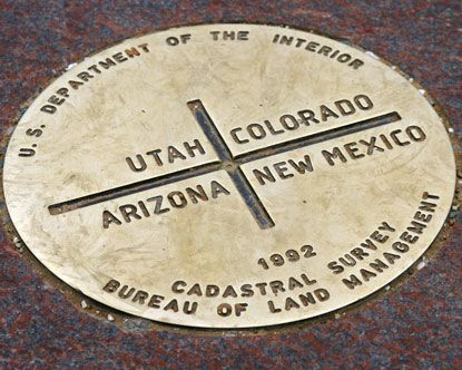 ~ Four Corners is only place in the country where four states meet, and because of this unique distinction, it is a popular US travel destination. The states that come together at this unique destination are Arizona, Utah, New Mexico, and Colorado. For those who visit the Four Corners Monument, it is possible to stand in all four of them at the same time ~    NOTE: Open 7 am - 8 pm (June - Sept)   Open 8 am - 5 pm (Oct - May  It's fun to visit here
