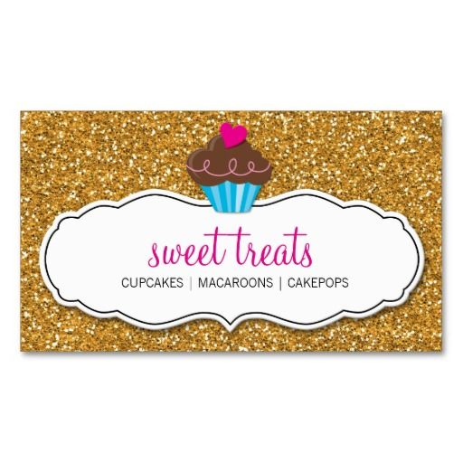 BUSINESS CARD cute cupcake pink gold glitter