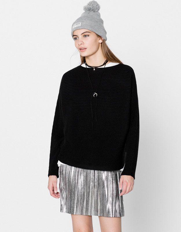 Pull&Bear - mujer - ropa - punto - jersey murcielago soft - negro - 09558353-I2016