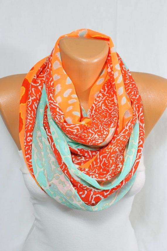Neon Scarf Mint Scarf Orange Scarf Red Scarf  Silky Chiffon Scarf Fall Scarf Winter Scarf Women's Fashion Gift Ideas For Her