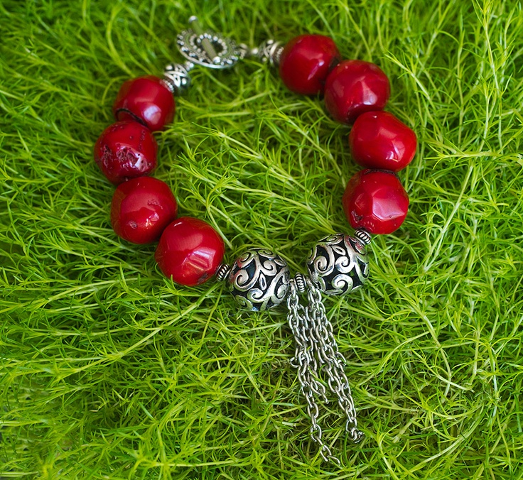Chunky bamboo coral bracelet with pewter beads  $62  www.GemBoutique.ca  www.etsy.com/shop/GemBoutiqueOnline