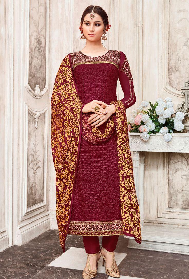 Semi #Stitched #Maroon Georgette #Pakistani #Suit #nikvik  #usa #designer #australia #canada #freeshipping #fashion #dress #suits #sale