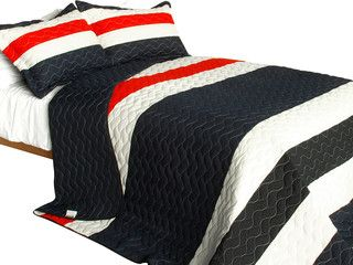 [The Heart of Abundance] 3PC Vermicelli-Quilted Patchwork Quilt Set (Full/Queen) - Beach Style - Quilts - by Blancho Bedding