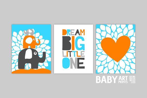Baby Boy Nursery artOrange Aqua Grey Set of 3 by babyartprints, $33.00