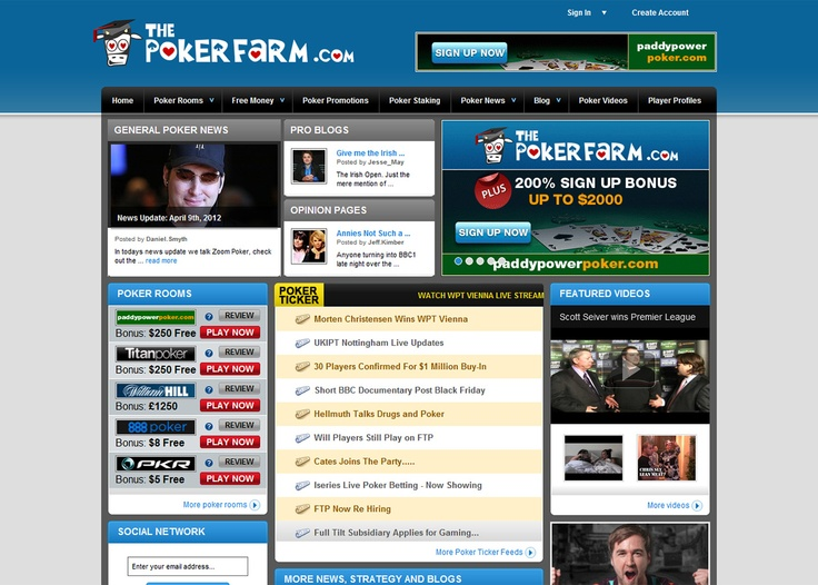 The Pokerfarm - http://www.thepokerfarm.com/    The Pokerfarm is arguably one of the most innovative approaches to online gaming around. The site was relaunched in 2011 and provides a platform for online poker players to improve and showcase their skills. The Pokerfarm has countless features that provide a unique and complete multimedia poker experience. This site is an indispensable part of the online poker community.