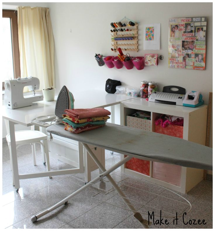 Sewing Corner (Norden gateleg table on wheels, ironing board, Kallax shelving unit with baskets) | Make it Coze