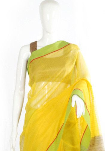 Yellow and Light Green Cotton Handloom Saree – Desically Ethnic