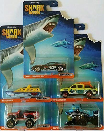 2016 Matchbox Discovery Shark Week Exclusive: Chevy Corvette ZR1, Res Q Waver, International Scout 4x4, Toyota Tacoma, Deep Diver   Complete Set of 5!. #Matchbox #Discovery #Shark #Week #Exclusive: #Chevy #Corvette #Waver, #International #Scout #Toyota #Tacoma, #Deep #Diver #Complete