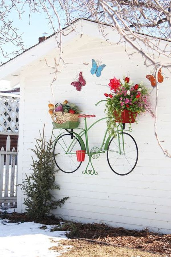 17 Super ideas for garden decorations made from old bicycles