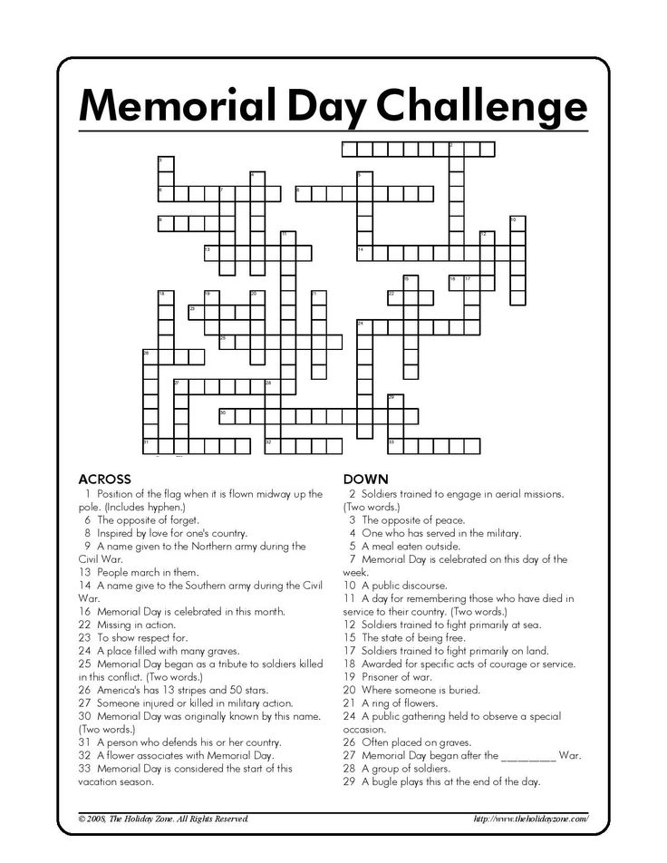 memorial day crossword puzzle new york times