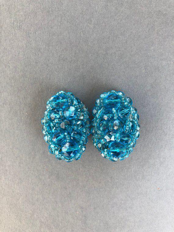 Beads Vintage Acrylic C/'1960 CRAFT BLUE Style size options
