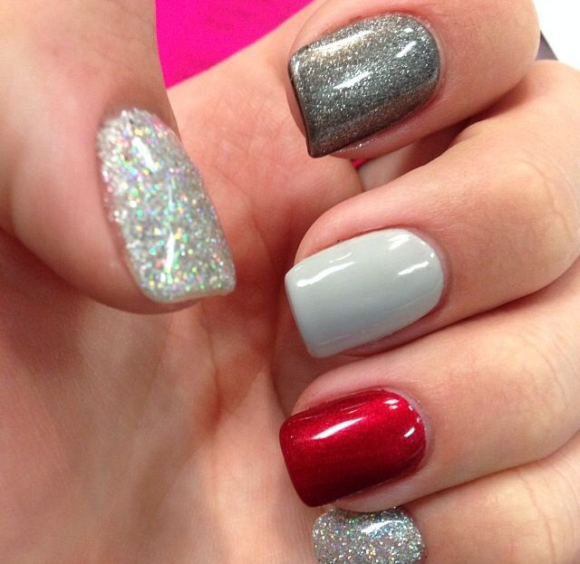 Love the idea of grey nails with a red ring finger!!!!!