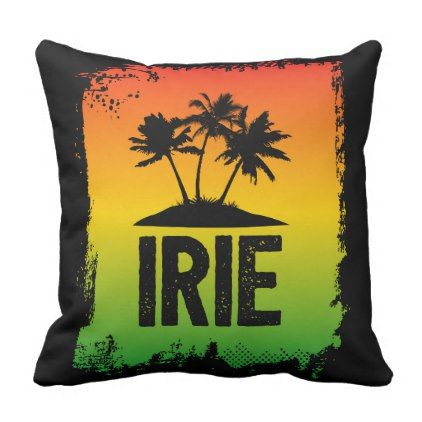 Irie Jamaican Chill Out Hello Slang Sunset Throw Pillow - quote pun meme quotes diy custom