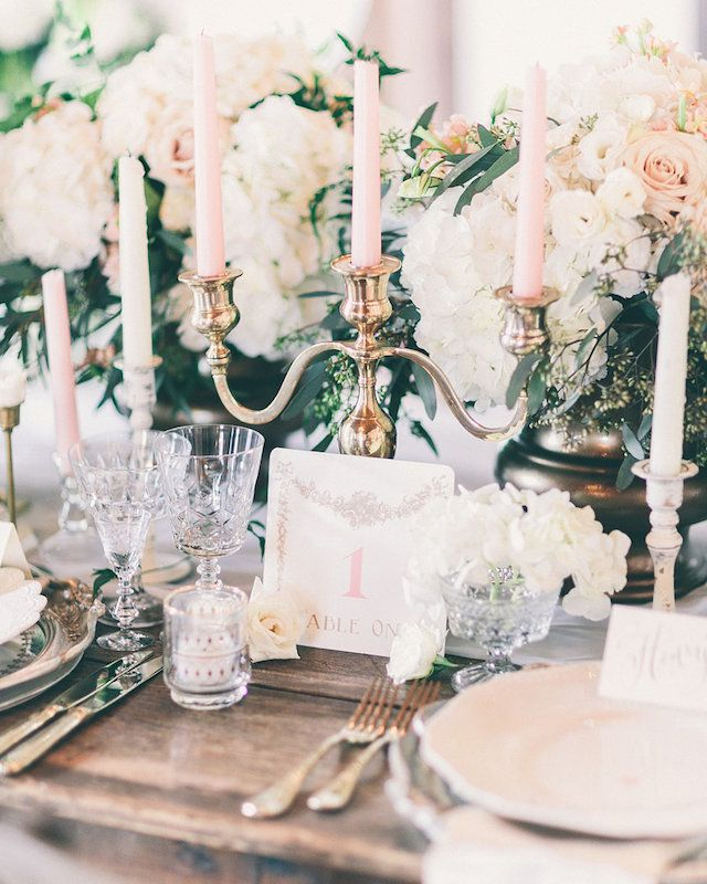 Gold candelabra, pink candles | Rachel May Photography | see more on: http://burnettsboards.com/2014/06/rustic-elegance-beauty-anthomanic-workshop/