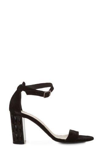 Sandale negre din piele intoarsa 1804 -  Ama Fashion