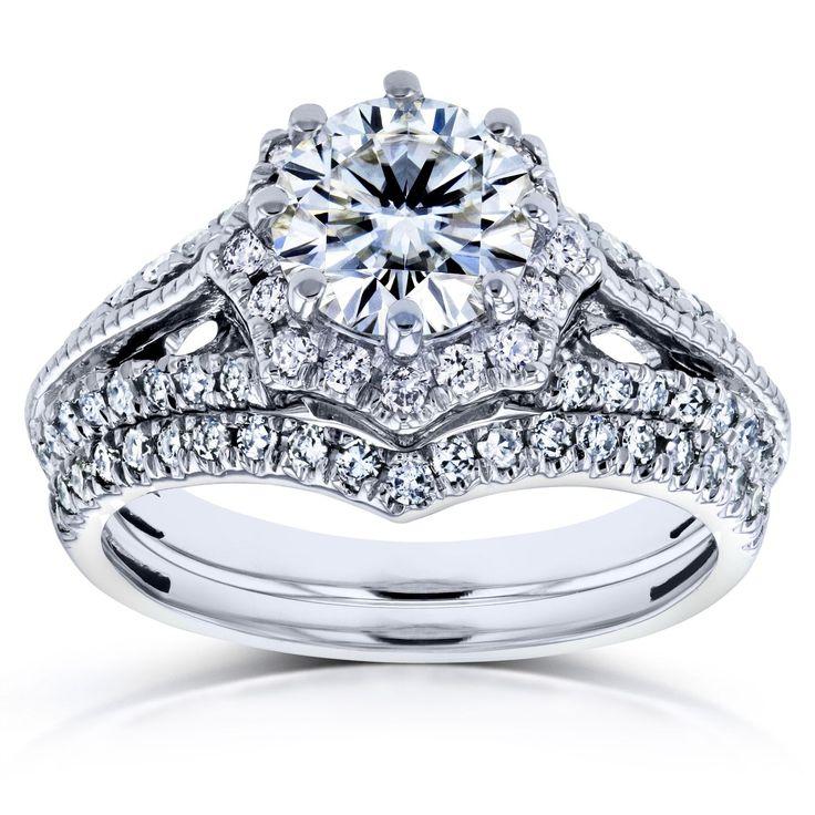 Annello by Kobelli 14k White Gold 1 1/2ct TCW Moissanite and Diamond Star Halo 2-Ring Bridal Set (H-I, I1-I2) (Size