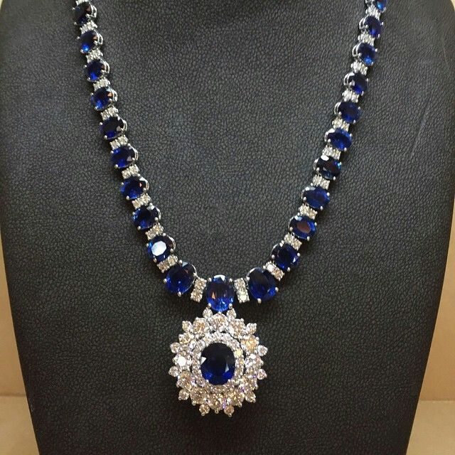 @azardiamonds. I see skies of blue and clouds of white ... And I think to myself what a wonderful world! #diamonds #sapphire #jewelry #round #necklace