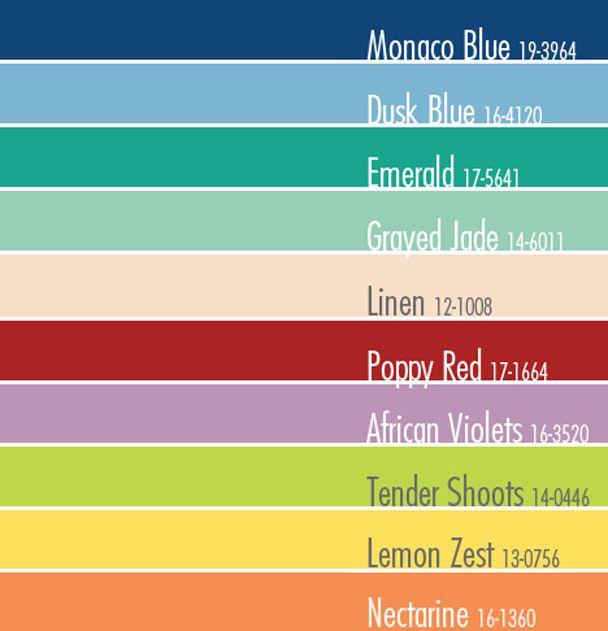 Colores de la primavera-verano 2013 Basado en el reporte de PANTONE