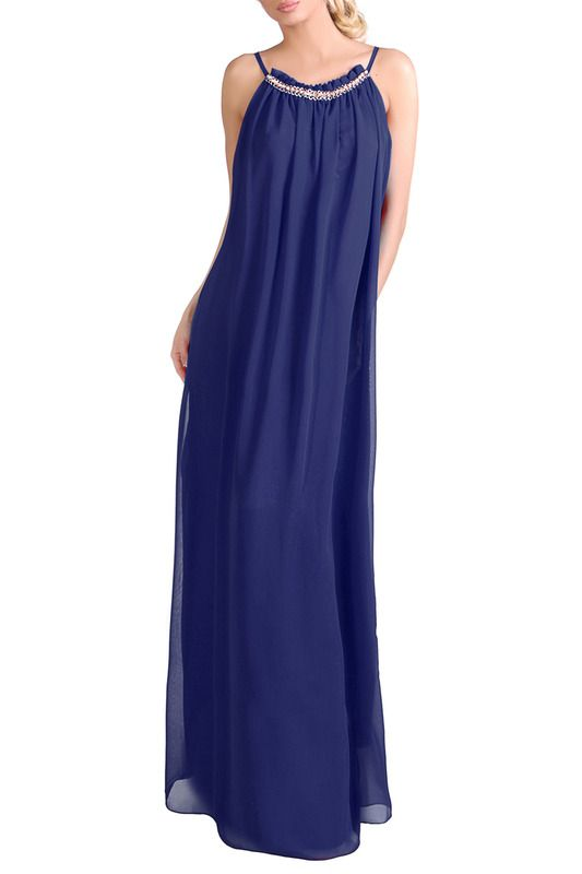 синее платье с юбкой длины макси