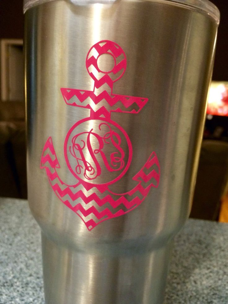 Diy yeti vine monogram decal anchor southern tumbler 20 30 oz tumbler rtic tervis cup colster personalized nautical chevron